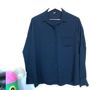 Navy button down blouse / dress shirt womens
